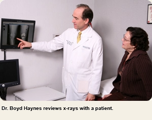 Reviewing X-rays with a patient