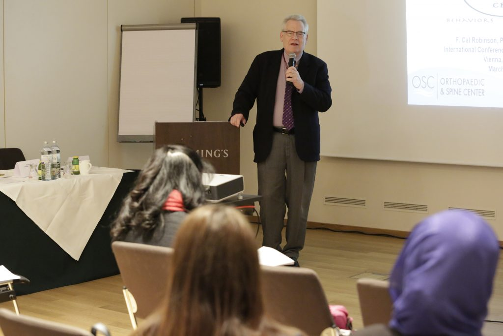 Dr. Cal Robinson lecturing in Vienna